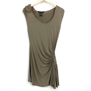 Andrea Jovine Ruched Tunic Top Olive Dress M